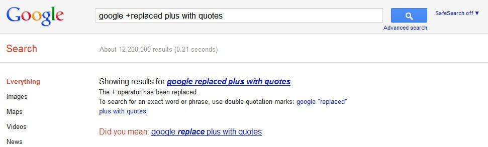 Screenshot of Google error - replaced the plus operator with quote marks