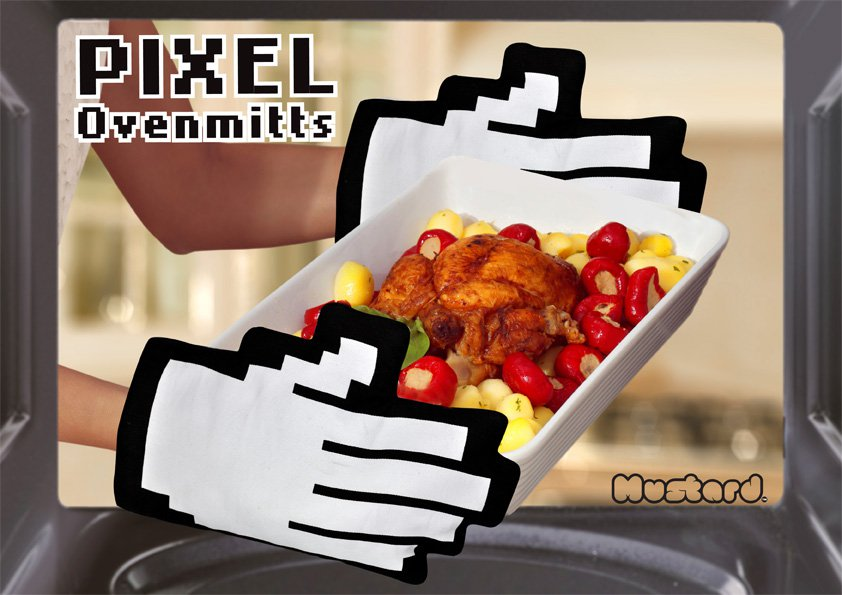 Pixel Ovenmitts from JustMustard.com
