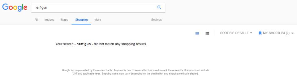 Google Shopping Search for nerf gun